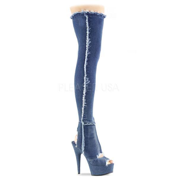 High Heel Overknee Plateau Jeans Stiefel Delight-3030